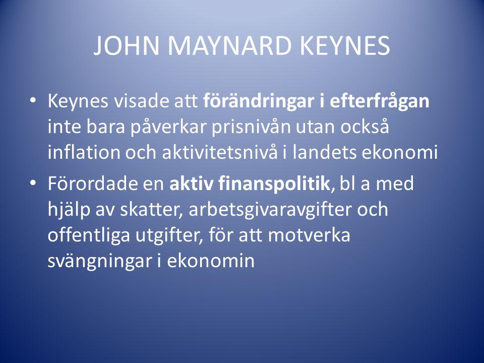 JOHN MAYNARD KEYNES Keynes visade att förändringar i efterfrågan inte bara påverkar prisnivån utan också inflation och aktivitetsnivå i landets ekonom