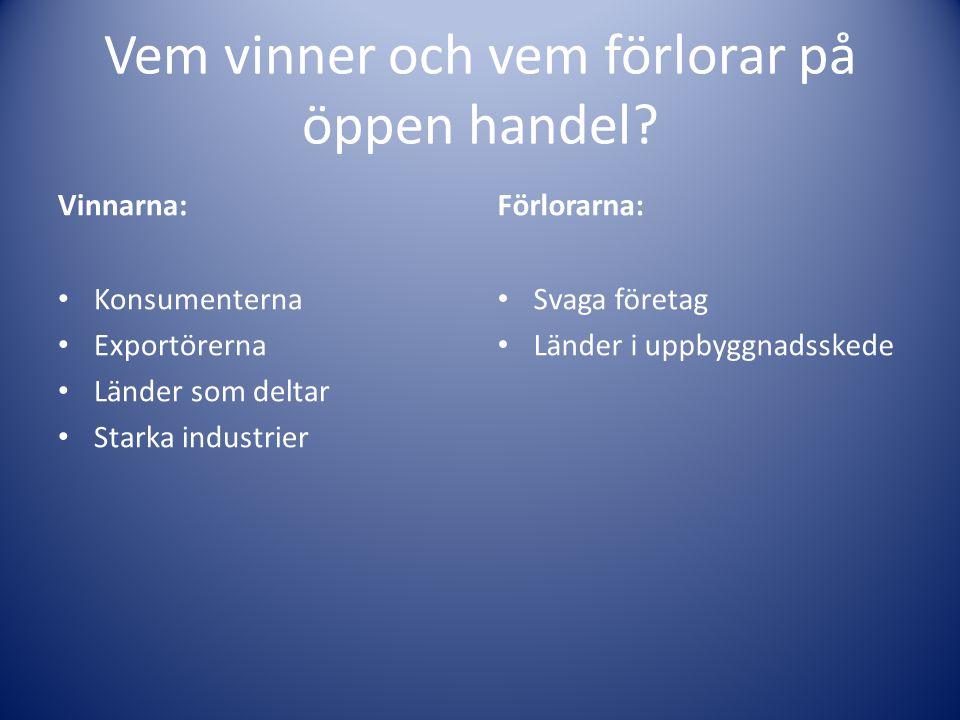 Vem vinner och vem förlorar på öppen handel? Vinnarna: Konsumenterna Exportörerna Länder som deltar Starka industrier Förlorarna: Svaga företag Länder