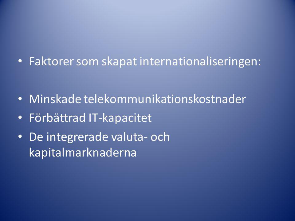 Faktorer som skapat internationaliseringen: Minskade telekommunikationskostnader Förbättrad IT-kapacitet De integrerade valuta- och kapitalmarknaderna