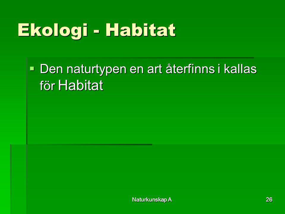 Naturkunskap A26 Ekologi - Habitat  Den naturtypen en art återfinns i kallas för Habitat
