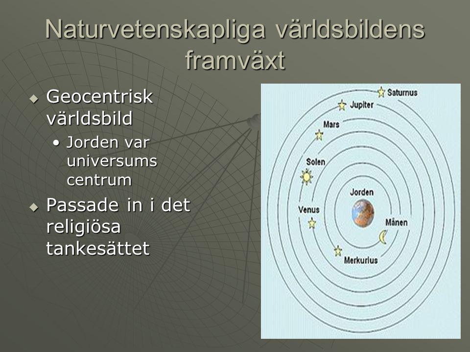 Naturvetenskapliga världsbildens framväxt  Geocentrisk världsbild Jorden var universums centrumJorden var universums centrum  Passade in i det relig