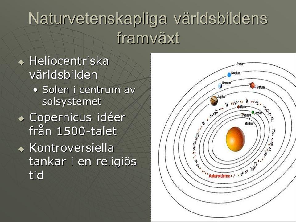 Naturvetenskapliga världsbildens framväxt  Den heliocentriska världsbilden stärks Galileo Galilei observerade bland annat att solen är en stjärna bland många andra – ej unikGalileo Galilei observerade bland annat att solen är en stjärna bland många andra – ej unik  Newton förklarar planeternas elliptiska banor med hjälp av gravitationskraften
