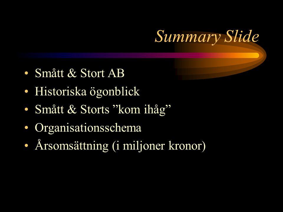 Summary Slide Smått & Stort AB Historiska ögonblick Smått & Storts kom ihåg Organisationsschema Årsomsättning (i miljoner kronor)