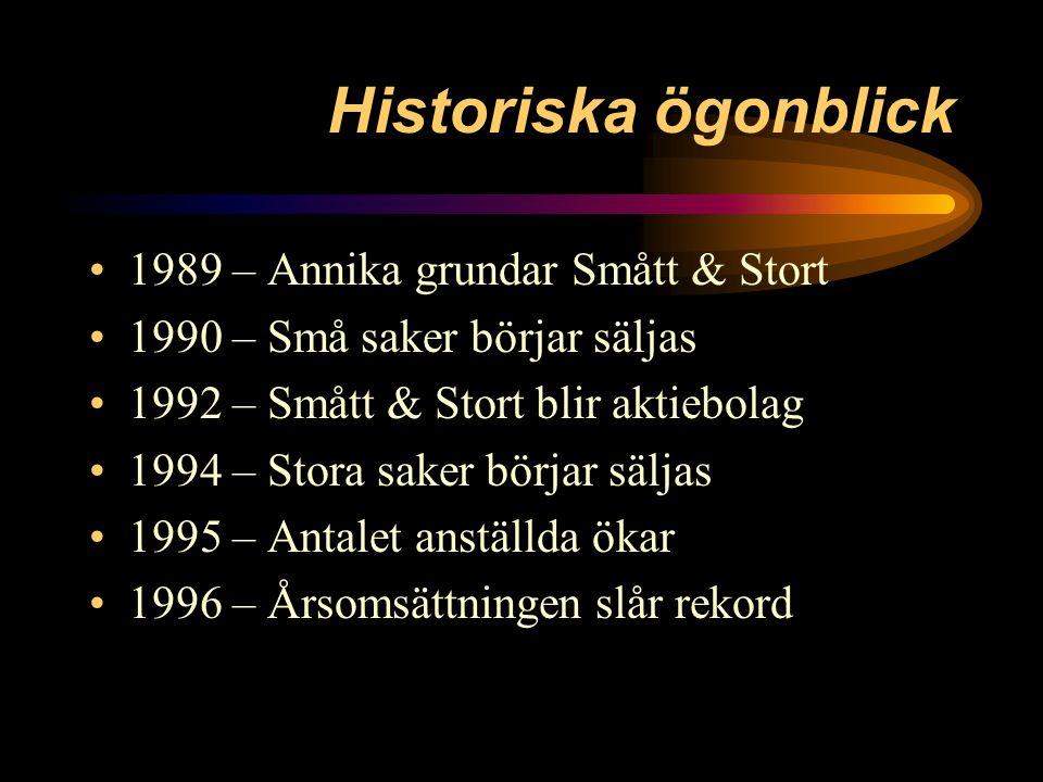 Historiska ögonblick 1989 – Annika grundar Smått & Stort 1990 – Små saker börjar säljas 1992 – Smått & Stort blir aktiebolag 1994 – Stora saker börjar säljas 1995 – Antalet anställda ökar 1996 – Årsomsättningen slår rekord