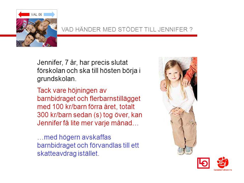 VAL 06 VAD HÄNDER MED STÖDET TILL JENNIFER ? Jennifer, 7 år, har precis slutat förskolan och ska till hösten börja i grundskolan. Tack vare höjningen