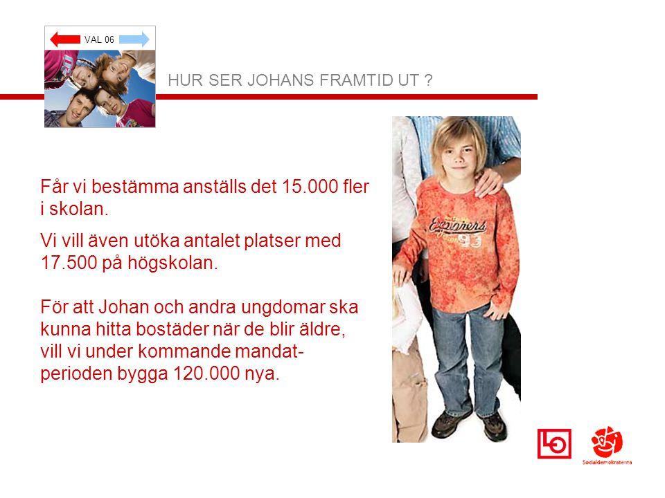 VAL 06 HUR SER JOHANS FRAMTID UT . Får vi bestämma anställs det 15.000 fler i skolan.