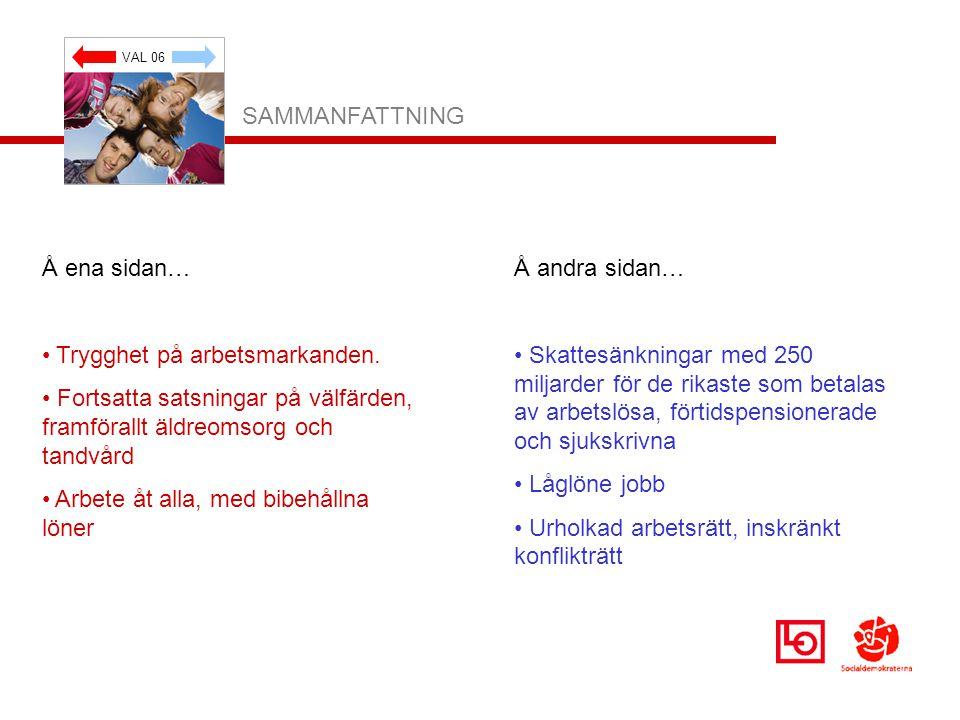 VAL 06 SAMMANFATTNING Å ena sidan… Trygghet på arbetsmarkanden.