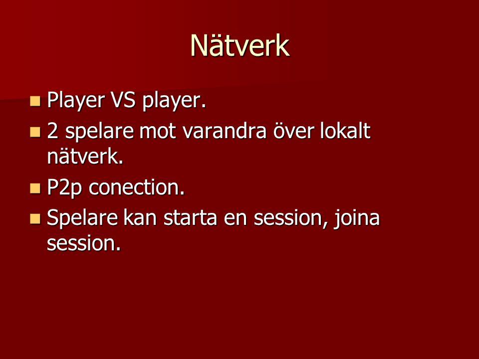 Nätverk Player VS player. Player VS player. 2 spelare mot varandra över lokalt nätverk.