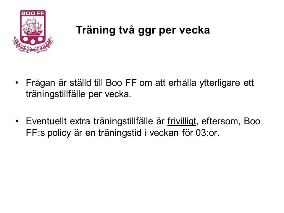 Frågan är ställd till Boo FF om att erhålla ytterligare ett träningstillfälle per vecka.