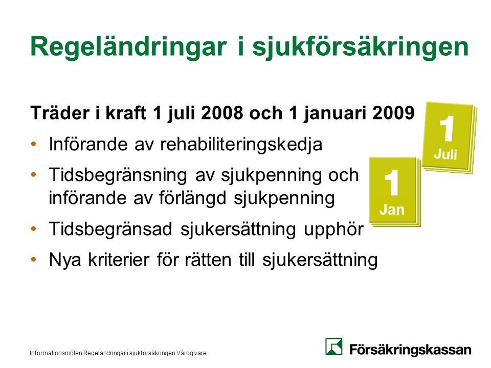 Informationsmöten Regeländringar i sjukförsäkringen Vårdgivare Jan Regeländringar i sjukförsäkringen Träder i kraft 1 juli 2008 och 1 januari 2009 Inf