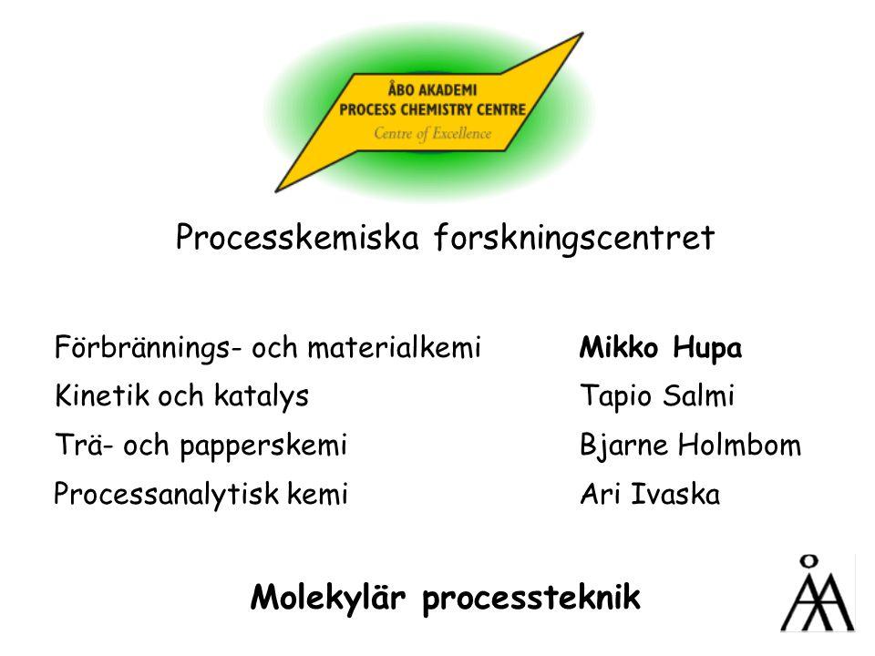 Processkemiska forskningscentret Förbrännings- och materialkemi Mikko Hupa Kinetik och katalysTapio Salmi Trä- och papperskemiBjarne Holmbom Processanalytisk kemi Ari Ivaska Molekylär processteknik