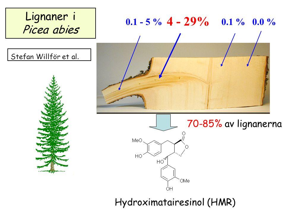 0.0 %0.1 %0.1 - 5 % 4 - 29% Hydroximatairesinol (HMR) Lignaner i Picea abies 70-85% av lignanerna Stefan Willför et al.