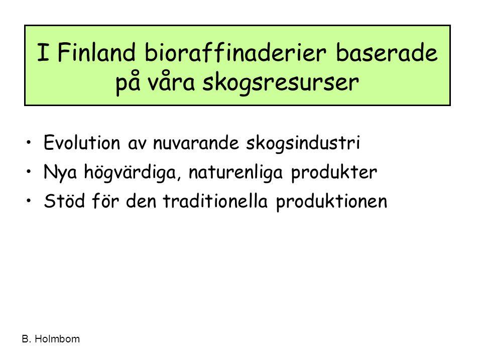 B. Holmbom Evolution av nuvarande skogsindustri Nya högvärdiga, naturenliga produkter Stöd för den traditionella produktionen I Finland bioraffinaderi