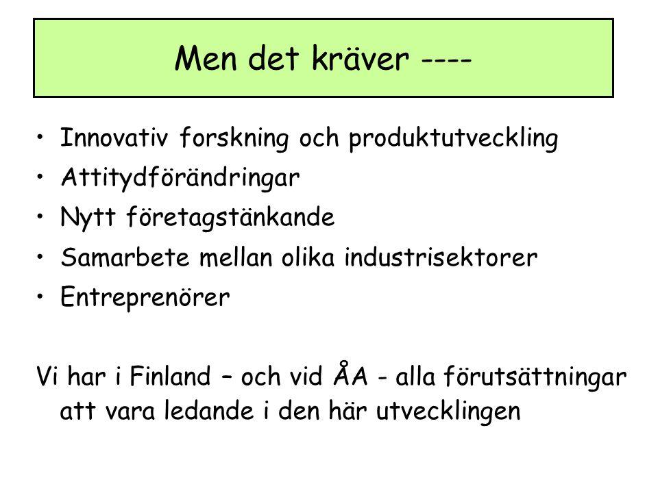 Innovativ forskning och produktutveckling Attitydförändringar Nytt företagstänkande Samarbete mellan olika industrisektorer Entreprenörer Vi har i Finland – och vid ÅA - alla förutsättningar att vara ledande i den här utvecklingen Men det kräver ----