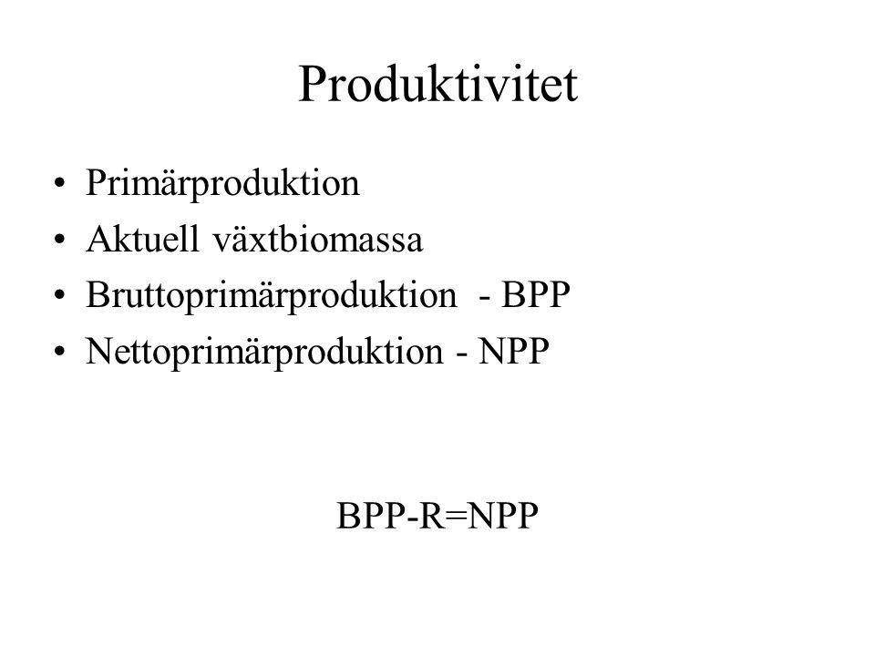 Produktivitet Primärproduktion Aktuell växtbiomassa Bruttoprimärproduktion - BPP Nettoprimärproduktion - NPP BPP-R=NPP