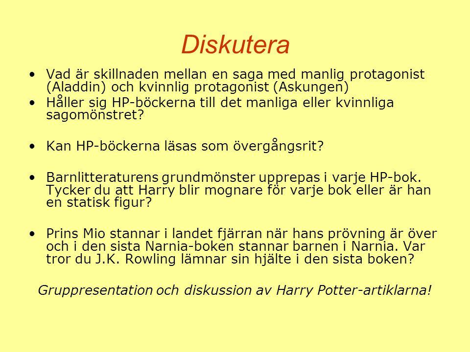 Diskutera Vad är skillnaden mellan en saga med manlig protagonist (Aladdin) och kvinnlig protagonist (Askungen) Håller sig HP-böckerna till det manlig