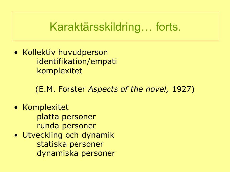 Kollektiv huvudperson identifikation/empati komplexitet (E.M. Forster Aspects of the novel, 1927) Komplexitet platta personer runda personer Utvecklin