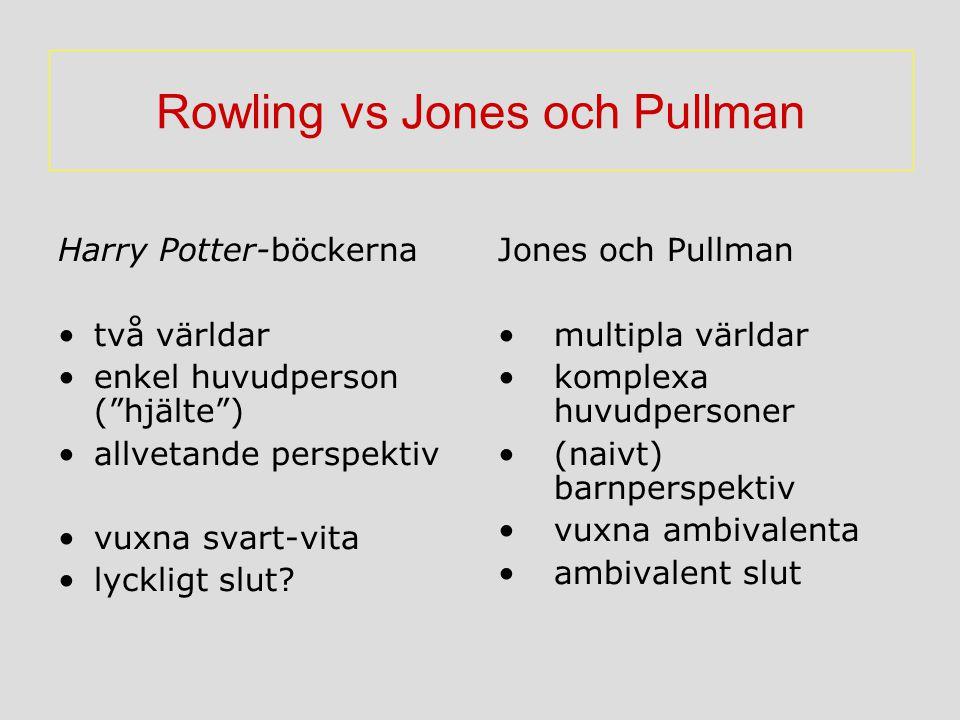 """Rowling vs Jones och Pullman Harry Potter-böckerna två världar enkel huvudperson (""""hjälte"""") allvetande perspektiv vuxna svart-vita lyckligt slut? Jone"""