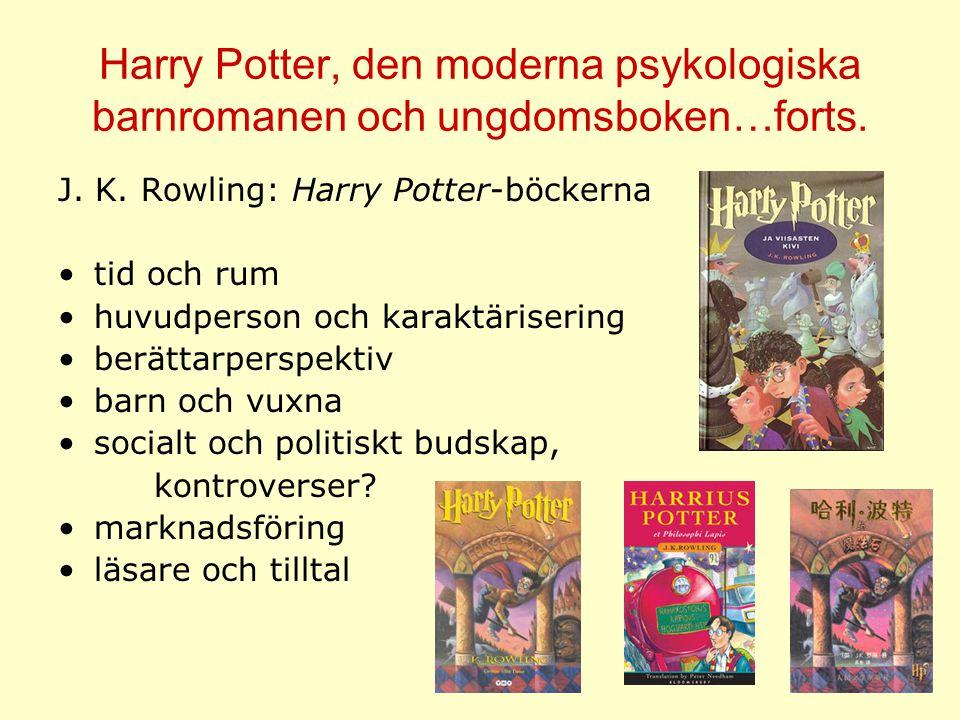 Harry Potter, den moderna psykologiska barnromanen och ungdomsboken…forts. J. K. Rowling: Harry Potter-böckerna tid och rum huvudperson och karaktäris