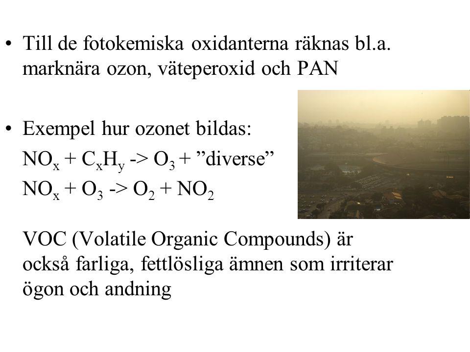 Till de fotokemiska oxidanterna räknas bl.a.