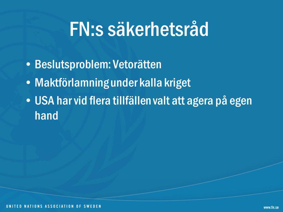 FN:s säkerhetsråd Beslutsproblem: Vetorätten Maktförlamning under kalla kriget USA har vid flera tillfällen valt att agera på egen hand