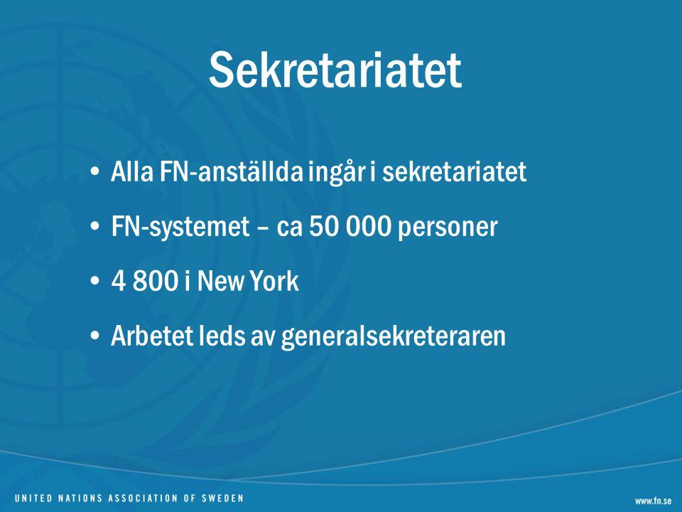 Sekretariatet Alla FN-anställda ingår i sekretariatet FN-systemet – ca 50 000 personer 4 800 i New York Arbetet leds av generalsekreteraren