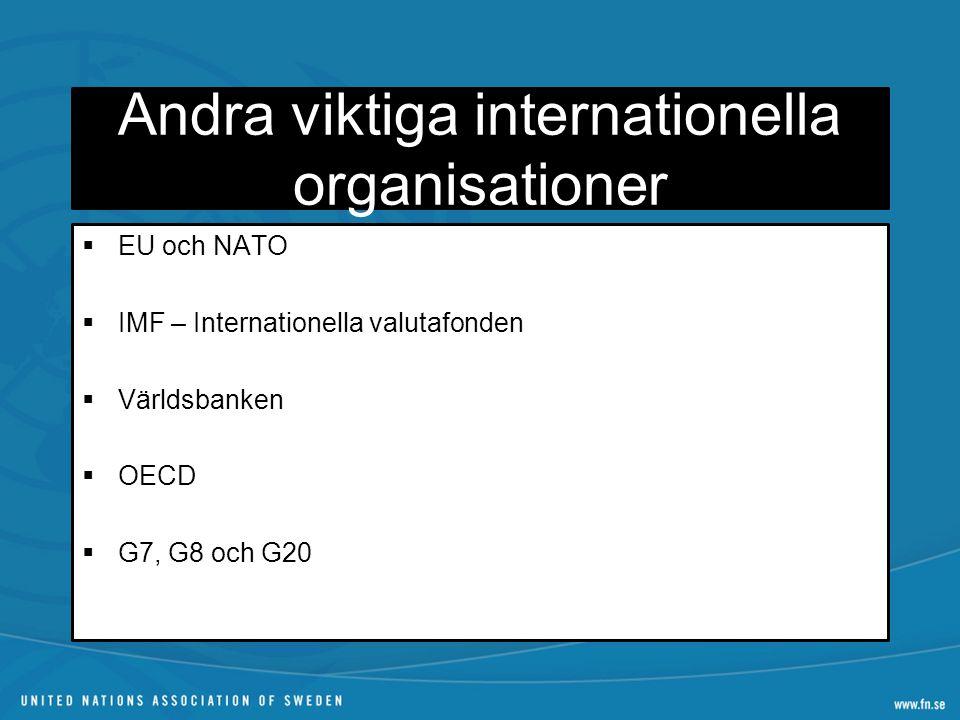Andra viktiga internationella organisationer  EU och NATO  IMF – Internationella valutafonden  Världsbanken  OECD  G7, G8 och G20