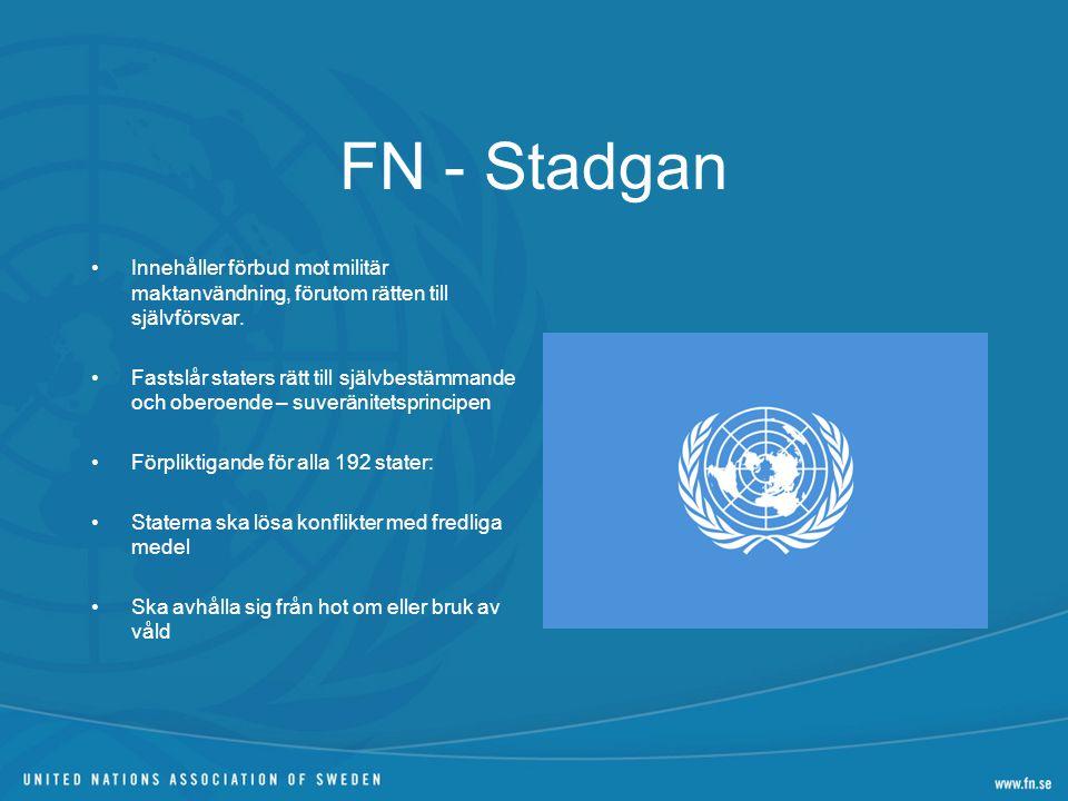 FN - Stadgan Innehåller förbud mot militär maktanvändning, förutom rätten till självförsvar. Fastslår staters rätt till självbestämmande och oberoende