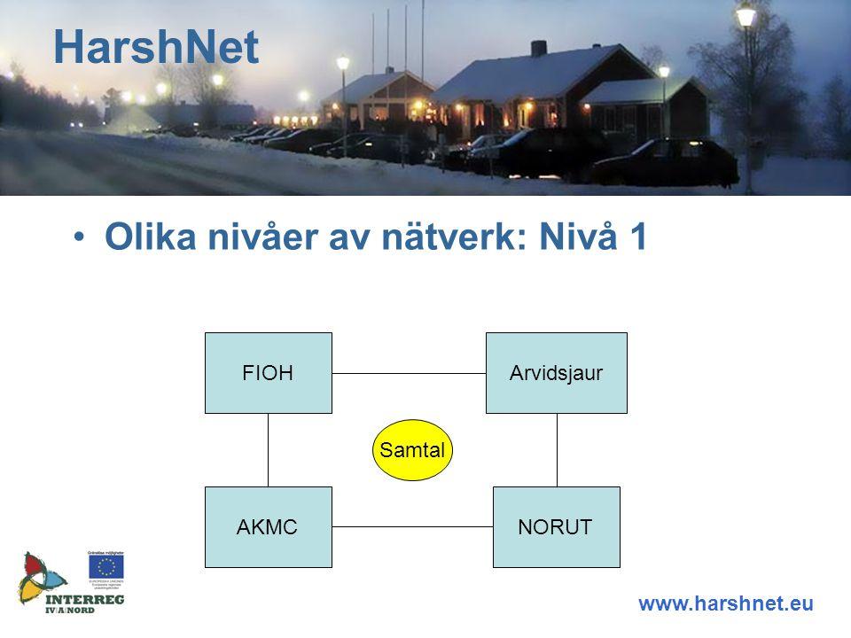 Olika nivåer av nätverk: Nivå 1 HarshNet www.harshnet.eu FIOHArvidsjaur AKMCNORUT Samtal