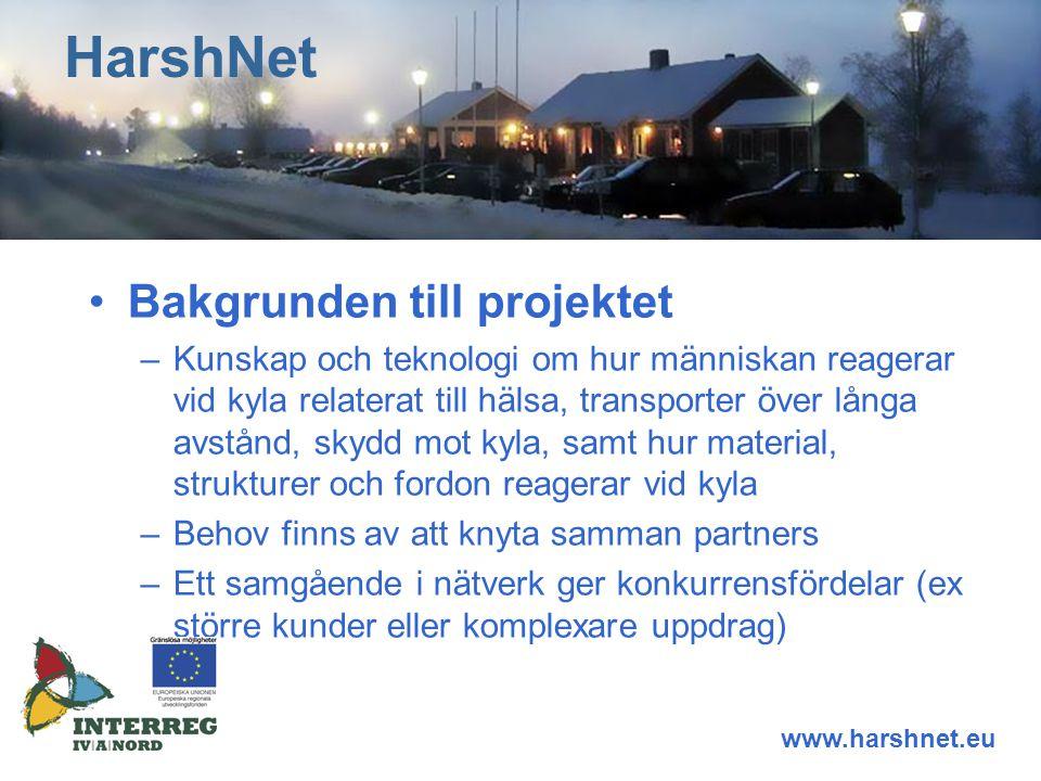 Fördelar med fullt nätverk – Added value –Kan nå kunder och kundgrupper som tidigare ej var nåbara –Stärker konkurrenskraft –Lär av varandra i nätverket HarshNet www.harshnet.eu