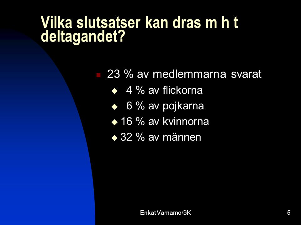 Enkät Värnamo GK26 Klubbens organisation