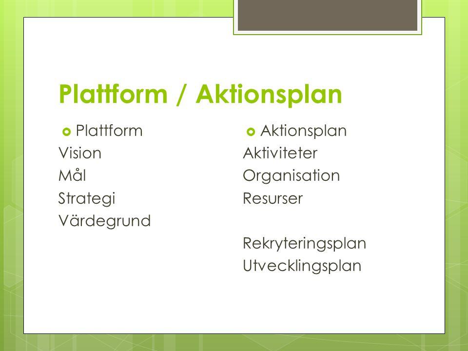 Plattform / Aktionsplan  Plattform Vision Mål Strategi Värdegrund  Aktionsplan Aktiviteter Organisation Resurser Rekryteringsplan Utvecklingsplan