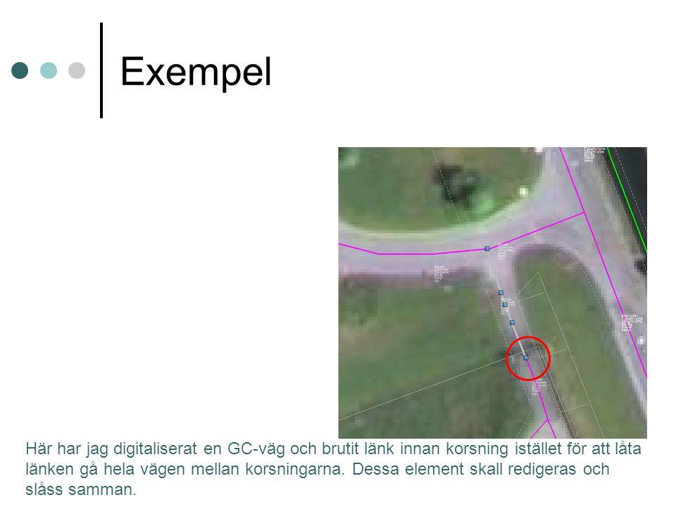 Här har jag digitaliserat en GC-väg och brutit länk innan korsning istället för att låta länken gå hela vägen mellan korsningarna.