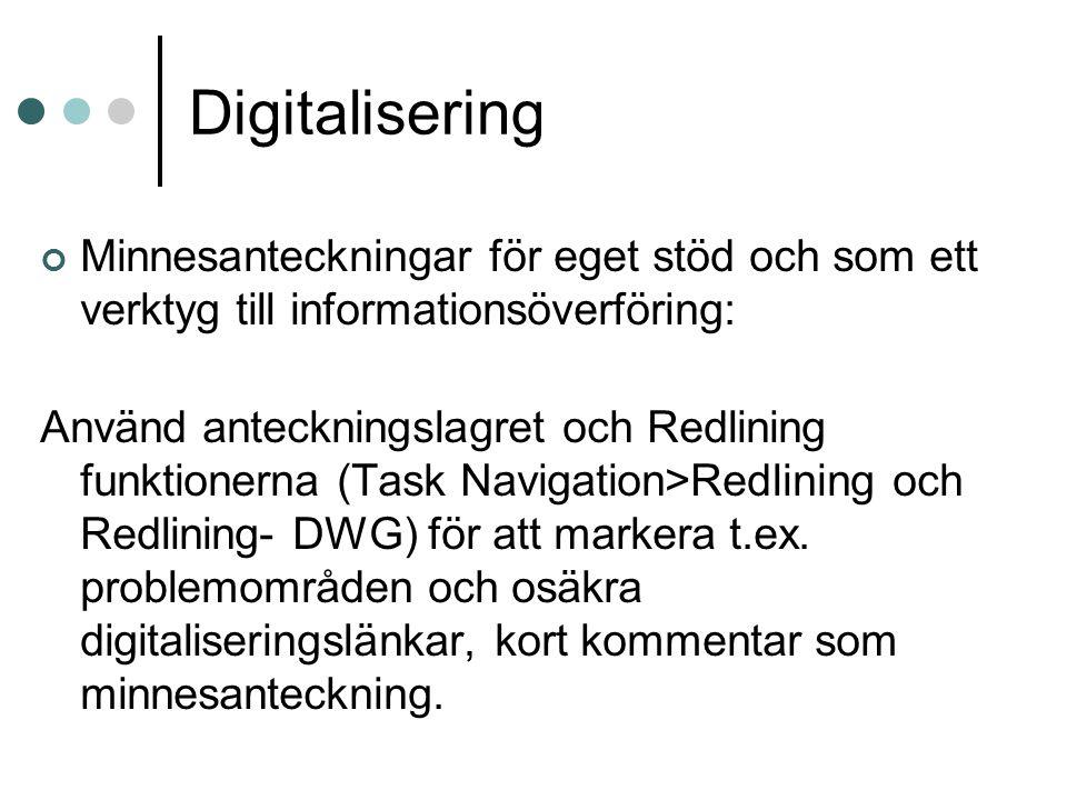 Digitalisering Minnesanteckningar för eget stöd och som ett verktyg till informationsöverföring: Använd anteckningslagret och Redlining funktionerna (