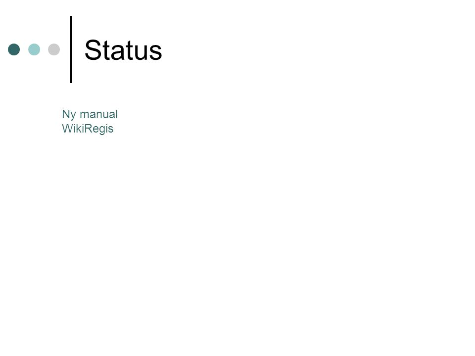 Status Ny manual WikiRegis