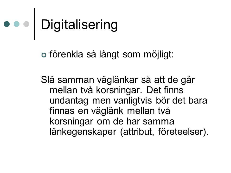 Digitalisering förenkla så långt som möjligt: Slå samman väglänkar så att de går mellan två korsningar. Det finns undantag men vanligtvis bör det bara