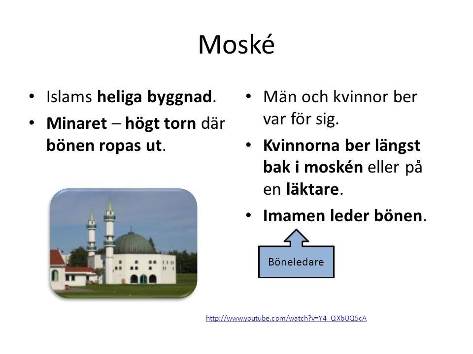 Moské Islams heliga byggnad.Minaret – högt torn där bönen ropas ut.