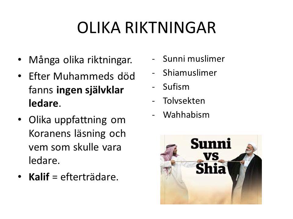 OLIKA RIKTNINGAR Många olika riktningar.Efter Muhammeds död fanns ingen självklar ledare.