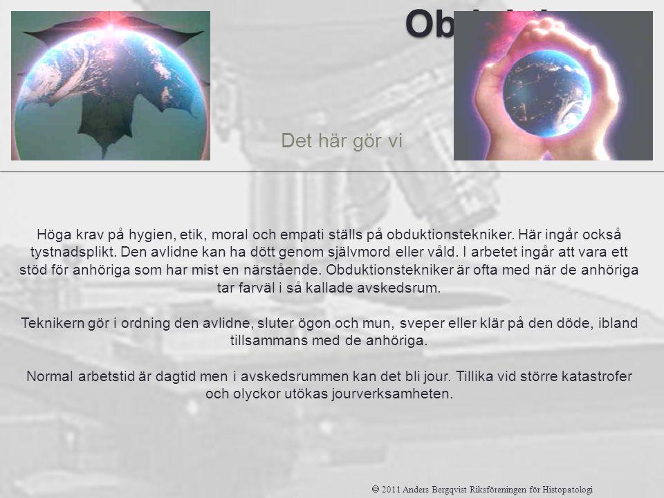 Obduktions tekniker Det här gör vi  2011 Anders Bergqvist Riksföreningen för Histopatologi Höga krav på hygien, etik, moral och empati ställs på obdu