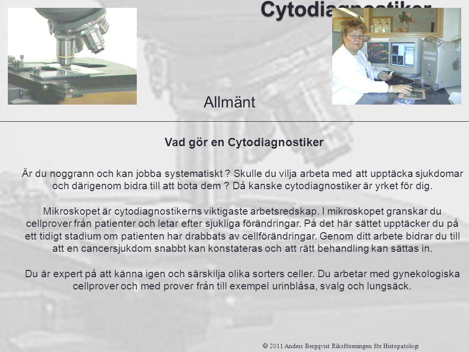 Cytodiagnostiker  2011 Anders Bergqvist Riksföreningen för Histopatologi Är du noggrann och kan jobba systematiskt ? Skulle du vilja arbeta med att u