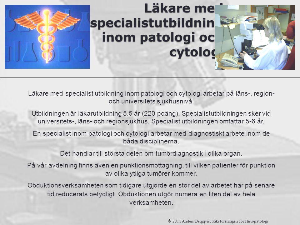 Läkare med specialistutbildning inom patologi och cytologi  2011 Anders Bergqvist Riksföreningen för Histopatologi Läkare med specialist utbildning i