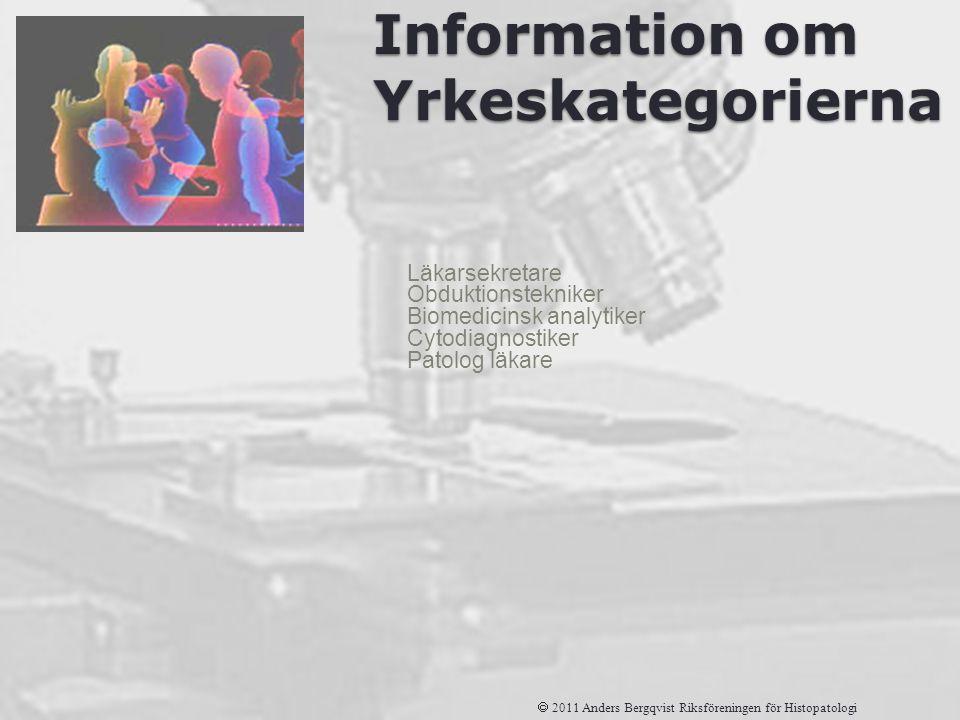 Information om Yrkeskategorierna Läkarsekretare Obduktionstekniker Biomedicinsk analytiker Cytodiagnostiker Patolog läkare  2011 Anders Bergqvist Rik