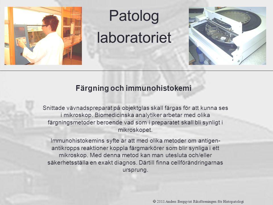 Färgning och immunohistokemi Patolog laboratoriet Snittade vävnadspreparat på objektglas skall färgas för att kunna ses i mikroskop. Biomedicinska ana