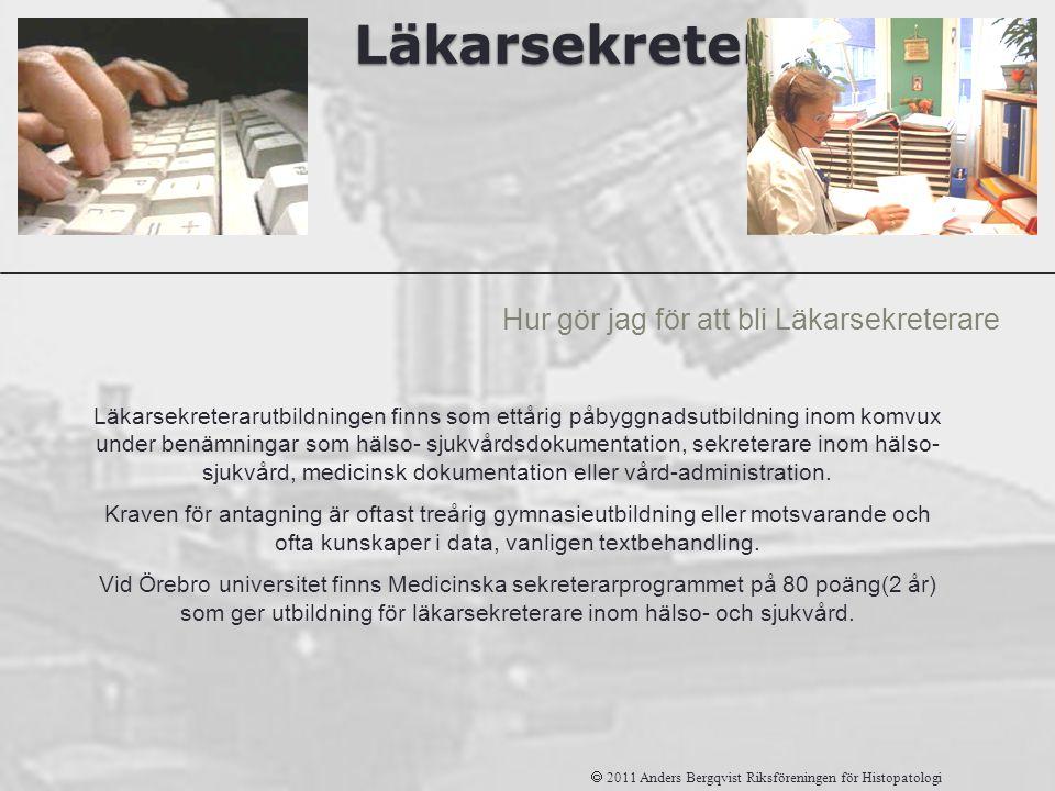 Läkarsekreterare Hur gör jag för att bli Läkarsekreterare  2011 Anders Bergqvist Riksföreningen för Histopatologi Läkarsekreterarutbildningen finns s