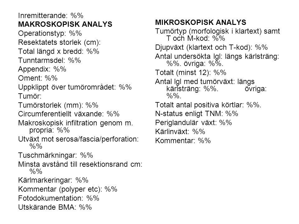 Inremitterande: % MAKROSKOPISK ANALYS Operationstyp: % Resektatets storlek (cm): Total längd x bredd: % Tunntarmsdel: % Appendix: % Oment: % Uppklippt