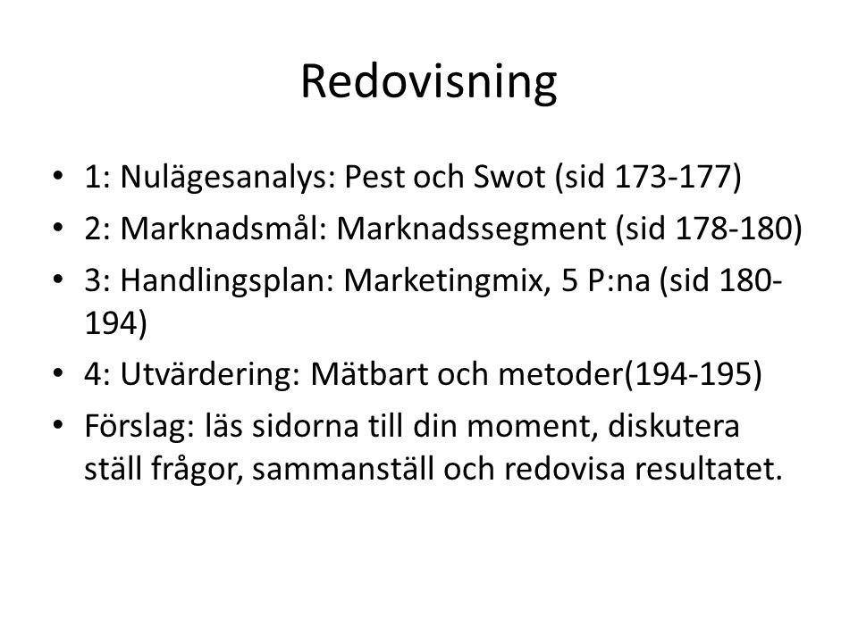 Redovisning 1: Nulägesanalys: Pest och Swot (sid 173-177) 2: Marknadsmål: Marknadssegment (sid 178-180) 3: Handlingsplan: Marketingmix, 5 P:na (sid 18