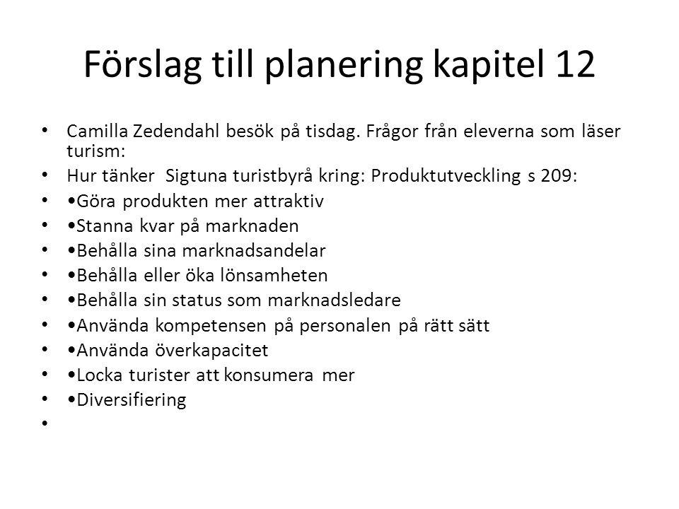 Förslag till planering kapitel 12 Camilla Zedendahl besök på tisdag. Frågor från eleverna som läser turism: Hur tänker Sigtuna turistbyrå kring: Produ