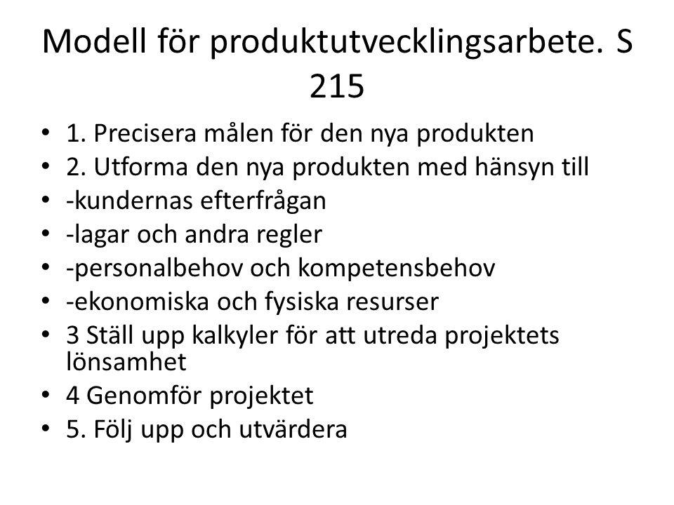 Modell för produktutvecklingsarbete. S 215 1. Precisera målen för den nya produkten 2. Utforma den nya produkten med hänsyn till -kundernas efterfråga