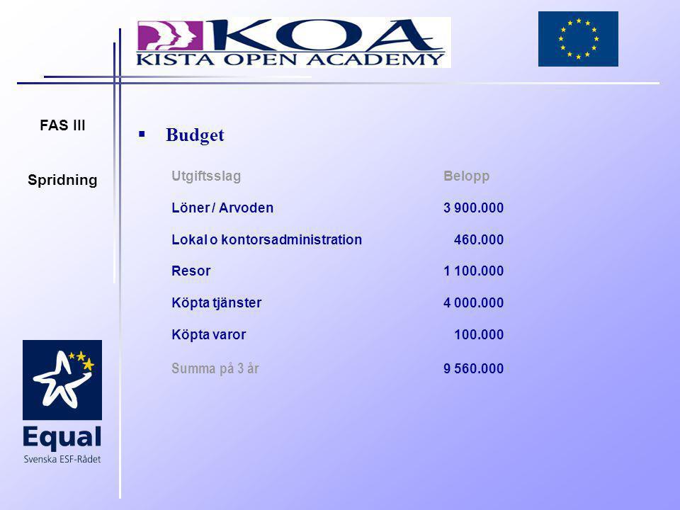 FAS III Spridning  Budget UtgiftsslagBelopp Löner / Arvoden 3 900.000 Lokal o kontorsadministration 460.000 Resor 1 100.000 Köpta tjänster 4 000.000 Köpta varor 100.000 Summa på 3 år 9 560.000