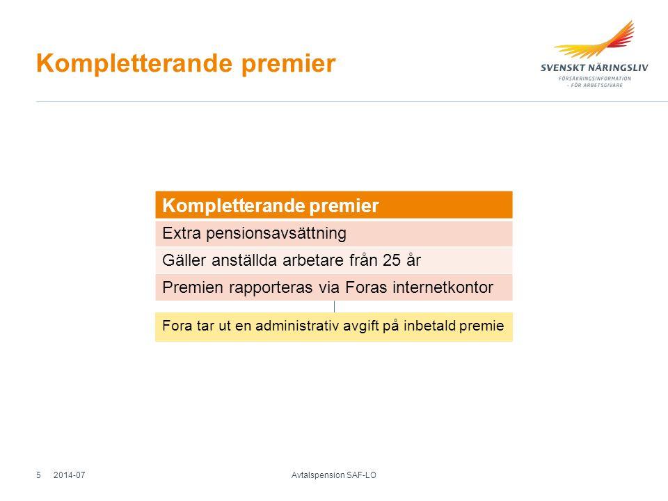 Premiebefrielseförsäkring Under anställning Pensionspremie betalas av försäkringen (25 – 65 år) Gäller vid - sjukdom - livränta enligt lag (arbetsskadeförsäkring) - föräldraledighet (max 13 månade r) - graviditetspenning Efter anställning Efterskydd under 90 kalenderdagar (endast sjukdom) 2014-07 Avtalspension SAF-LO 6